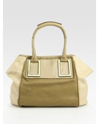 Chloé | Natural Ethel Patent Leather Colorblocked Tote Bag | Lyst