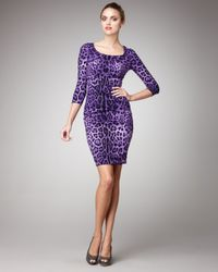 Dolce & Gabbana | Purple Leopard-print Sheath Dress | Lyst