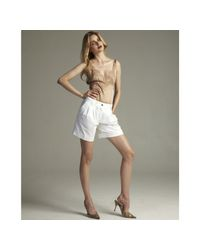 Dolce & Gabbana | White Cotton Stretch Cuffed Pleated Shorts | Lyst