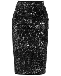 Donna Karan | Black Draped Sequined Jersey Skirt | Lyst