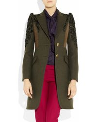Emilio Pucci - Green Suede-paneled Embroidered Wool Coat - Lyst