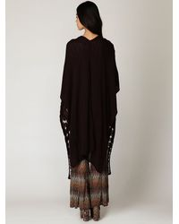 Free People - Red Long Cable Cape - Lyst