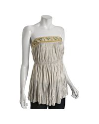 Free People | White Ivory Metallic Striped Indian Princess Beaded Top | Lyst
