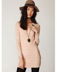 Free People | Natural Deep V Long Sleeve Lace Dress | Lyst