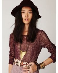 Free People | Purple Lurex Crochet Long Sleeve Top | Lyst