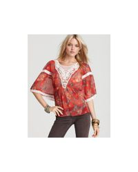 Free People | Red Printed Daydreamer Top | Lyst