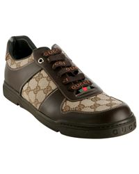 Gucci | Brown Leather Gg Canvas Sneakers for Men | Lyst