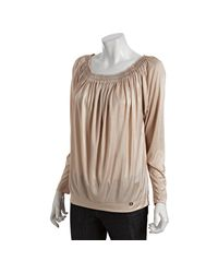 Gucci - Natural Champagne Sateen Beaded Neckline Long Sleeve Blouse - Lyst