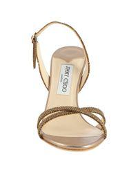 Jimmy Choo - Metallic Glitter India Sandals - Lyst