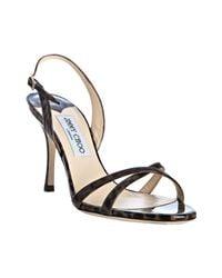 Jimmy Choo | Brown Leopard Print Patent India Sandals | Lyst