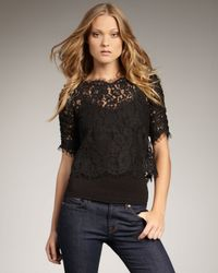 Joie | Black Fanny Cropped Lace Blouse | Lyst