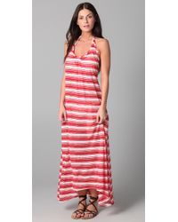 Josa Tulum - Red Striped Low Back Halter Dress - Lyst