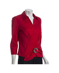 Lafayette 148 New York | Red Claret Stretch Cotton Tie Front Blouse | Lyst