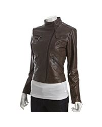 Laundry by Shelli Segal - Gray Grey Leather Asymmetrical Zip Front Jacket - Lyst