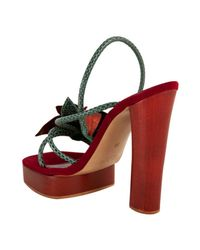 Marc Jacobs | Brown Snakeskin Flower Platform Sandals | Lyst