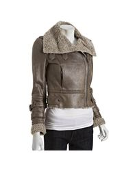 Marc New York | Brown Taupe Faux Suede and Sherpa Aviator Jacket | Lyst