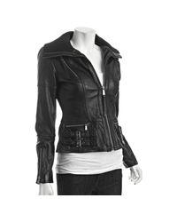 MICHAEL Michael Kors   Black Leather Knit Collar Bomber Jacket   Lyst