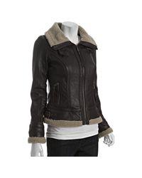 MICHAEL Michael Kors | Brown Leather Faux Fur Trim Aviator Jacket | Lyst