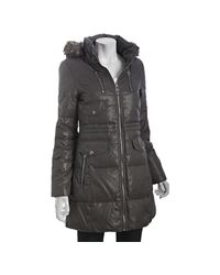 Miss Sixty | Metallic Gunmetal Quilted Hooded Down Coat with Faux Fur Trim | Lyst