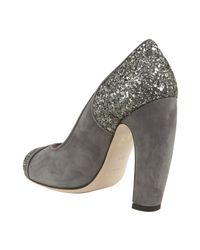 Miu Miu | Gray Grey Suede and Glitter Rounded Heel Pumps | Lyst