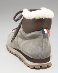Moncler | Gray Shearling-lined Hiker Boot for Men | Lyst