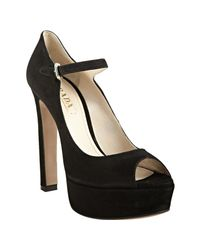 Prada | Black Suede Peep Toe Mary Jane Platform Pumps | Lyst