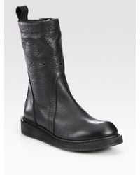 Rick Owens | Black Pebbled Leather Mid-calf Boots | Lyst