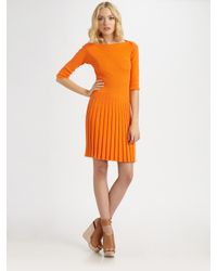See By Chloé | Orange Short Sleeve Ribbed Sweater Dress | Lyst