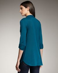 Splendid - Blue Tab-sleeve Long Blouse - Lyst