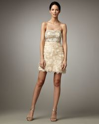 Sue Wong | White Petal-skirt Cocktail Dress | Lyst