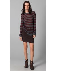 T By Alexander Wang | Red Striped Long Sleeve Tee | Lyst