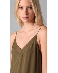 T By Alexander Wang - Green Gauze & Mesh Slip Dress - Lyst