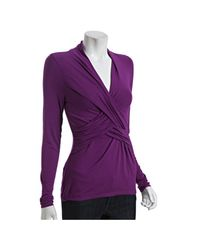 Tahari | Purple Arabian Night Stretch Jersey Naomi Crisscross Top | Lyst