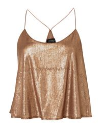 TOPSHOP | Metallic Sequin Crop Cami | Lyst