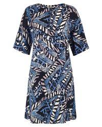 Tucker - Blue Animal Print Tunic Dress - Lyst