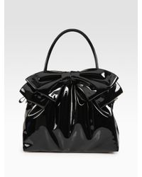 Valentino | Black Double Handle Patent Leather Bow Bag | Lyst