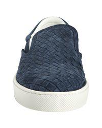 Bottega Veneta - Blue Celeste Woven Suede Slip On Sneakers for Men - Lyst