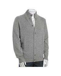 Brunello Cucinelli - Gray Grey Cashmere Standing Collar Cardigan Sweater for Men - Lyst