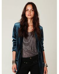 Free People | Blue Velvet Blazer | Lyst