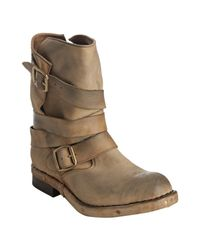 Jeffrey Campbell | Brown Tan Leather Brit Slouchy Distressed Buckle Boots | Lyst