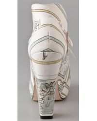 Opening Ceremony - White Print High Heel Booties - Lyst