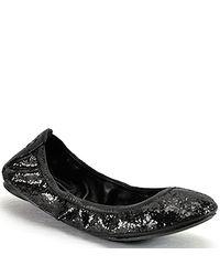 Tory Burch | Eddie - Black Glitter Ballet Flat | Lyst