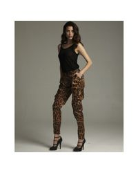 Dolce & Gabbana | Brown Leopard Print Pleated Cargo Pocket Skinny Pants | Lyst