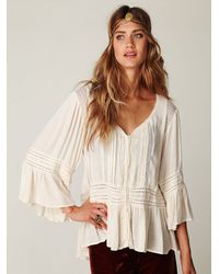 Free People - White Victorian Inset Tunic - Lyst