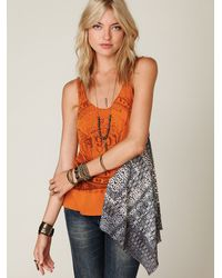 Free People | Orange We The Free Graphic Scarf Tunic | Lyst