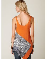 Free People - Orange We The Free Graphic Scarf Tunic - Lyst