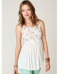 Free People | White Fp New Romantics Lattice Babydoll Top | Lyst