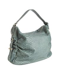 Furla | Blue Aloe Snake Stamped Leather Corniola Hobo | Lyst