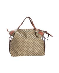 Gucci | Natural Beige Gg Canvas Bamboo Bar Large Travel Tote | Lyst