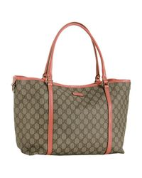 Gucci - Brown Beige Gg Plus and Starfish Leather Joy Tote - Lyst